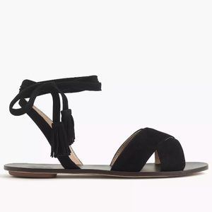 J. Crew Lace-Up Ankle Black Suede Sandals